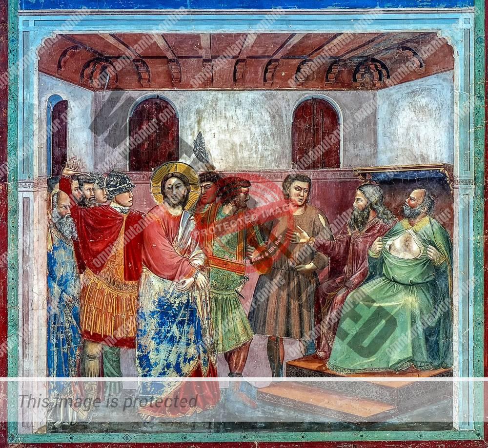 Giotto di Bondone Crist before Caiphas 1302-05