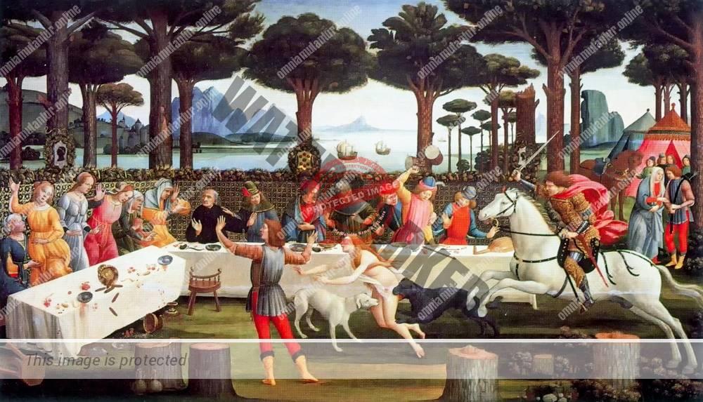 Botticelli Nastagio Degli Onesti 1483 Boccaccio Decameron