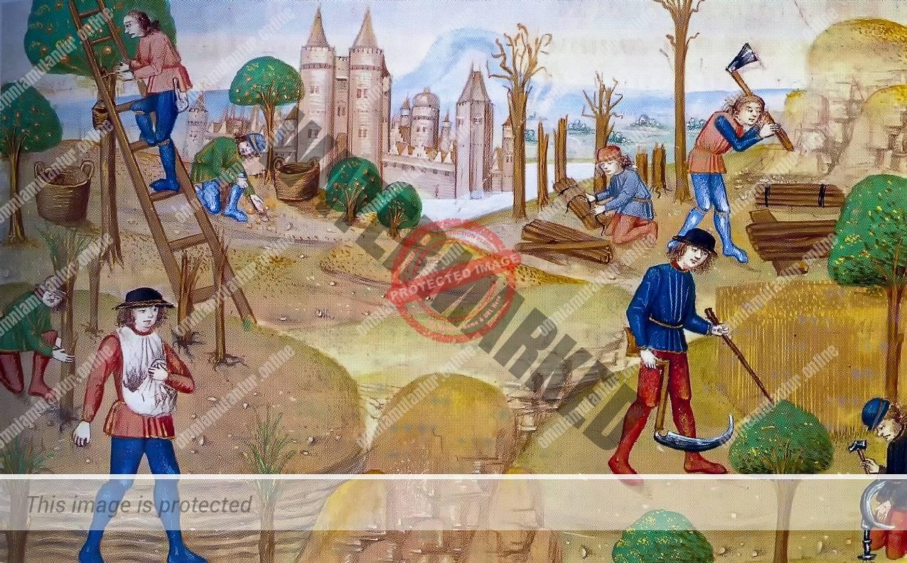 Pierre de Crescens Tilling the Fields 15th Century