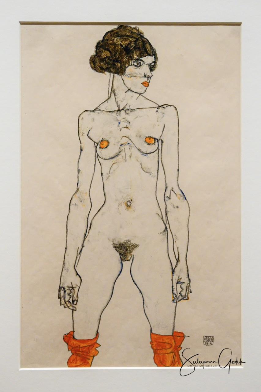 Standing Nude Girl with Orange Stockings